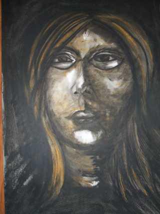 pastel gras , autoportrait